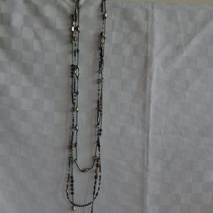 Silpada Hematite 3 Strand Long Necklace